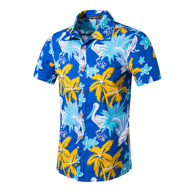 Mens Hawaiian Shirt Camisa Printed Beach Shirts Short Sleeve,Asian Size,5XL