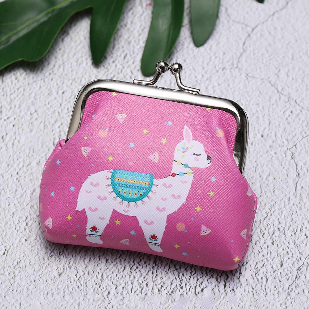 Gran descuento caliente 2019 patrón de dibujos animados impreso unicornio flamenco Cactus Alpaca mujeres cartera bolsa cremallera llave monedero chica regalo