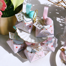 New Pink/Bule Diamond Shape Baby Shower Hobbyhorse Candy Box Chocolate Packing Bags Paper Gift Boxes Party Supplies Christening