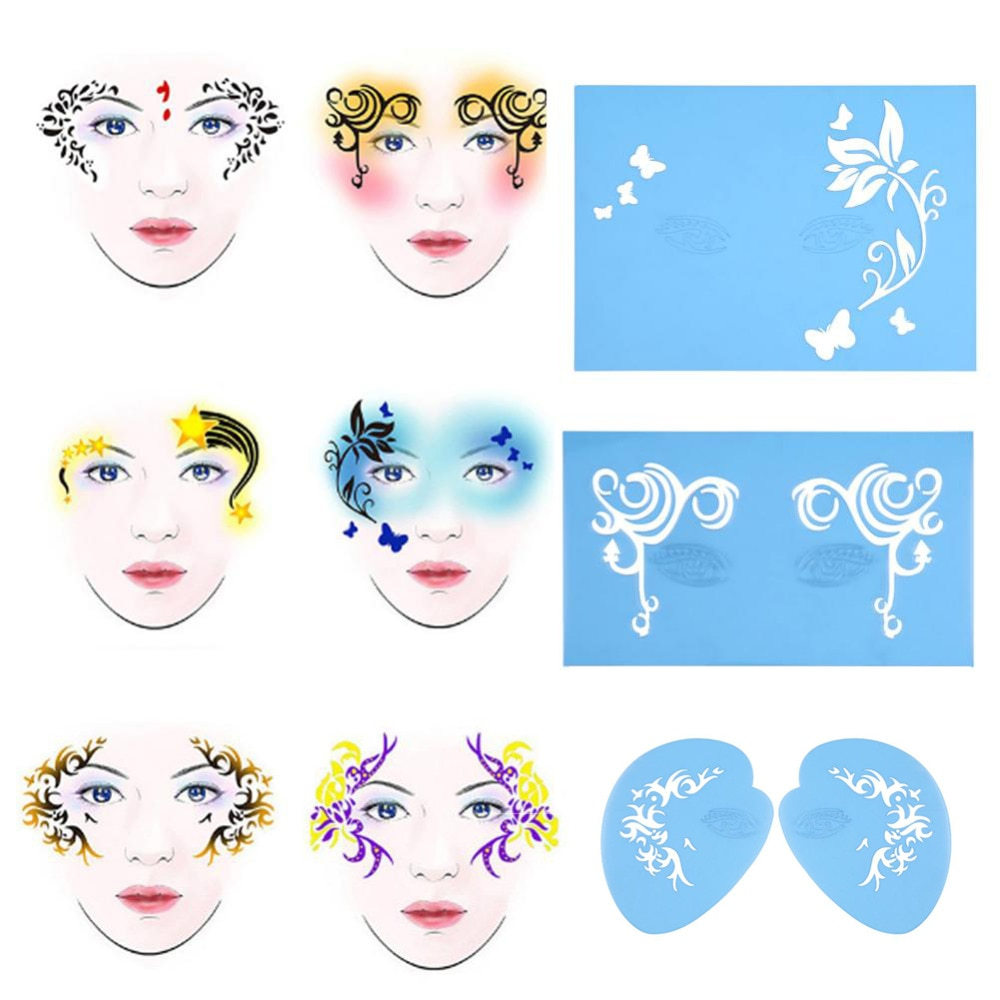 7styles set reusable face paint stencil body painting template