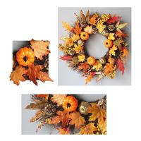 Party Halloween Decor DIY Artificial Wreath Thanksgiving Day Simulation Berry Maple Leaf Door Wall Ornament Garland