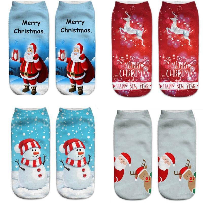 1 Pair Men Cotton Santa Claus Socks 3D Printing Cartoon Christmas Socks Women Low Cut Ankle Snowman Pattern Socks