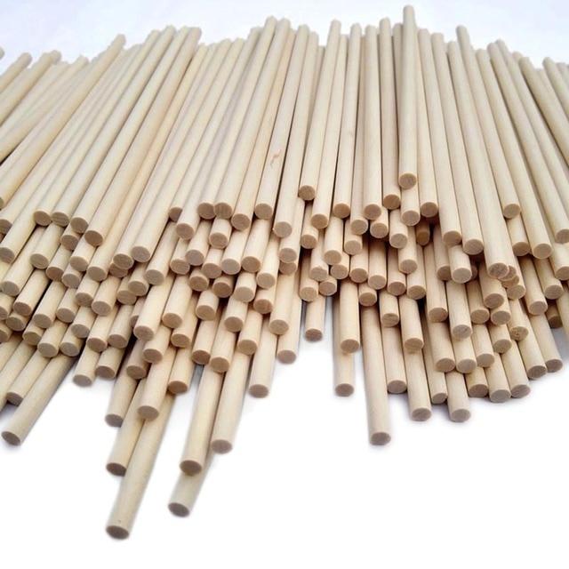 100 X Round Nature Wooden Lollipop Stick Pop DIY Kid Craft 150mm X 3.8mm 6'' New 045-339