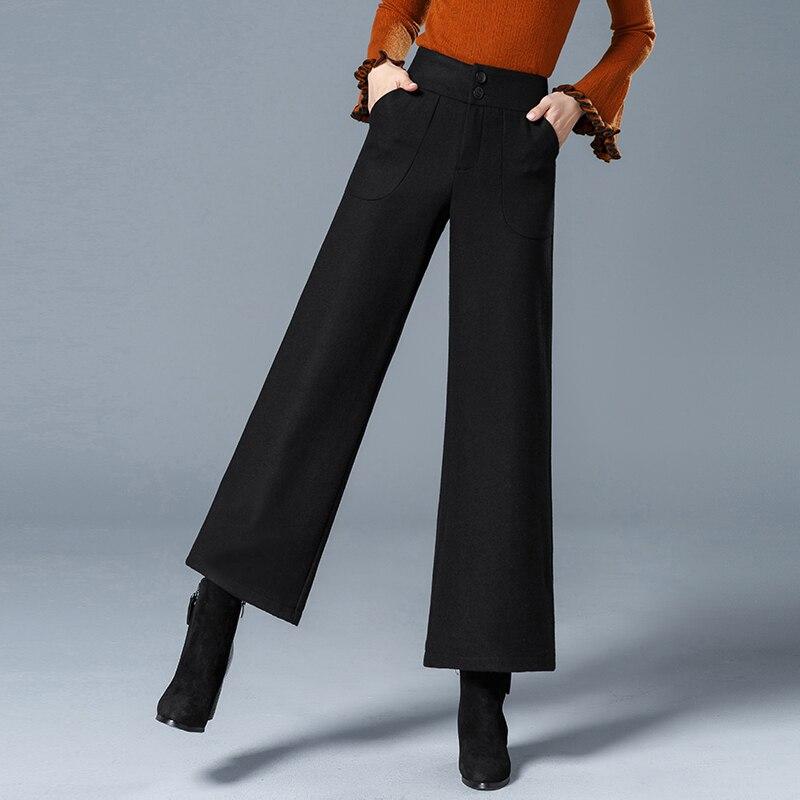 2019 Autumn and Winter Woolen   Wide     Leg     Pants   Ladies High Waist Nine Points Big   Pants   Wool Wool Casual   Pants   Suit   Pants