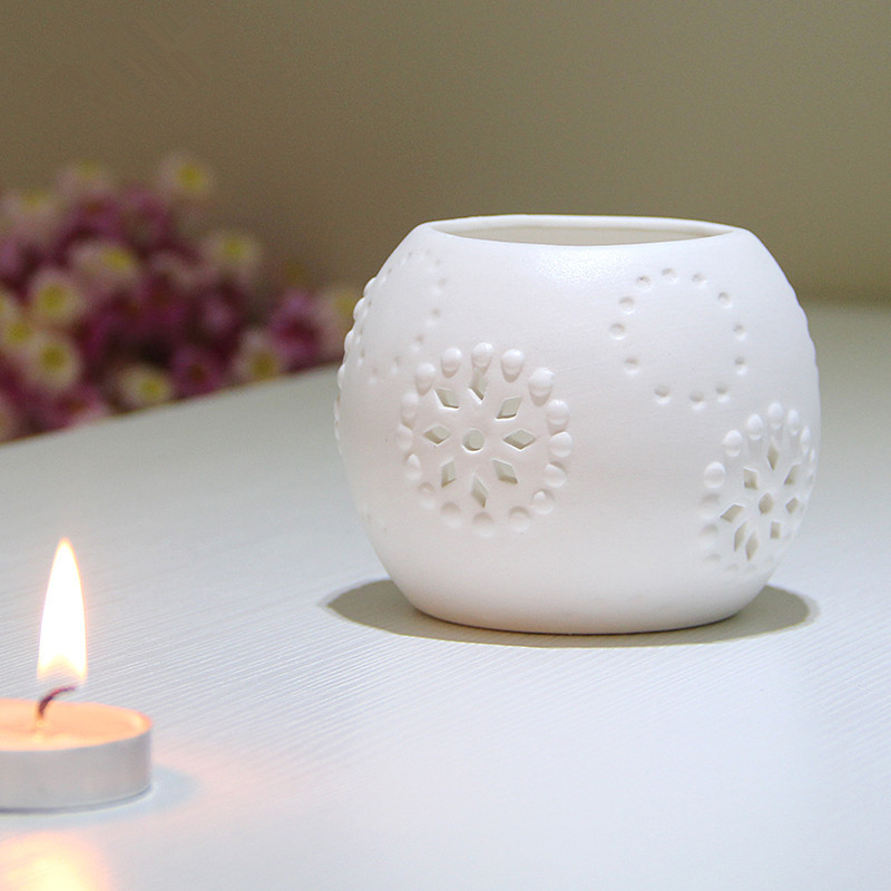 decorative elegant unglazed frosted surface hollow out round white ceramic tealight candle holder porcelain candlestick ornament