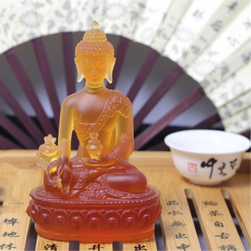 Barevná Claze Buddha socha Fengshui Bůh bohatství Pryskyřice - Dekorace interiéru - Fotografie 6