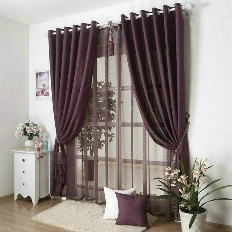 €9.16 39% de réduction|Nouveauté couleur unie rideaux pour salon uni  rideaux + Voile 9 couleurs gris/bordeaux/jaune/Violet/blanc  ombre/draperie-in ...
