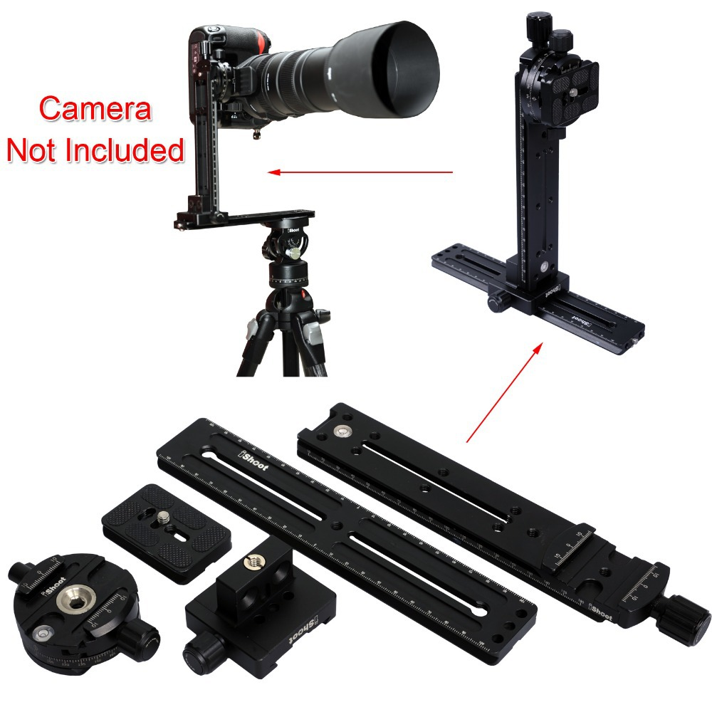 Pan Tilt Camera Bracket Mount Cantilever Combo: Tripod Panorama Head + 2-in-1 Clamp+ Linker + 2 Quick Release Plate keter cantilever tool box 22 canti combo