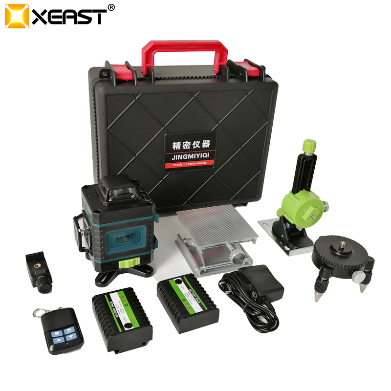 2019 XEAST 3 4D high precision green beam 12 16 lines level infrared light automatic line