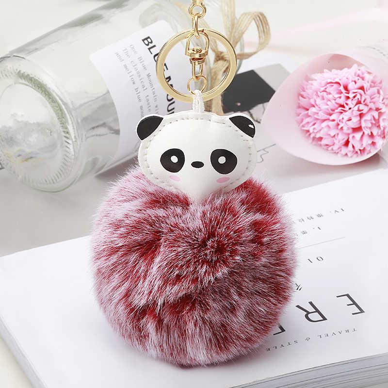 Модный пушистый искусственный кролик меховой шар панда брелок женский симпатичный помпон мех брелок с кольцом для ключей сумка с помпоном Брелоки держатель для ключей EH863