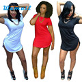 Shocking Show Sexy Women Tops Short Sleeve Side Slit Casual T Shirt Party Mini Dress