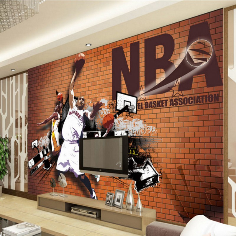 Free Shipping Basketball fan background wall kitchen living room bathroom bedroom office porch wallpaper mural  free shipping 3d wall breaking basketball background wall bedroom living room studio mural home decoration wallpaper