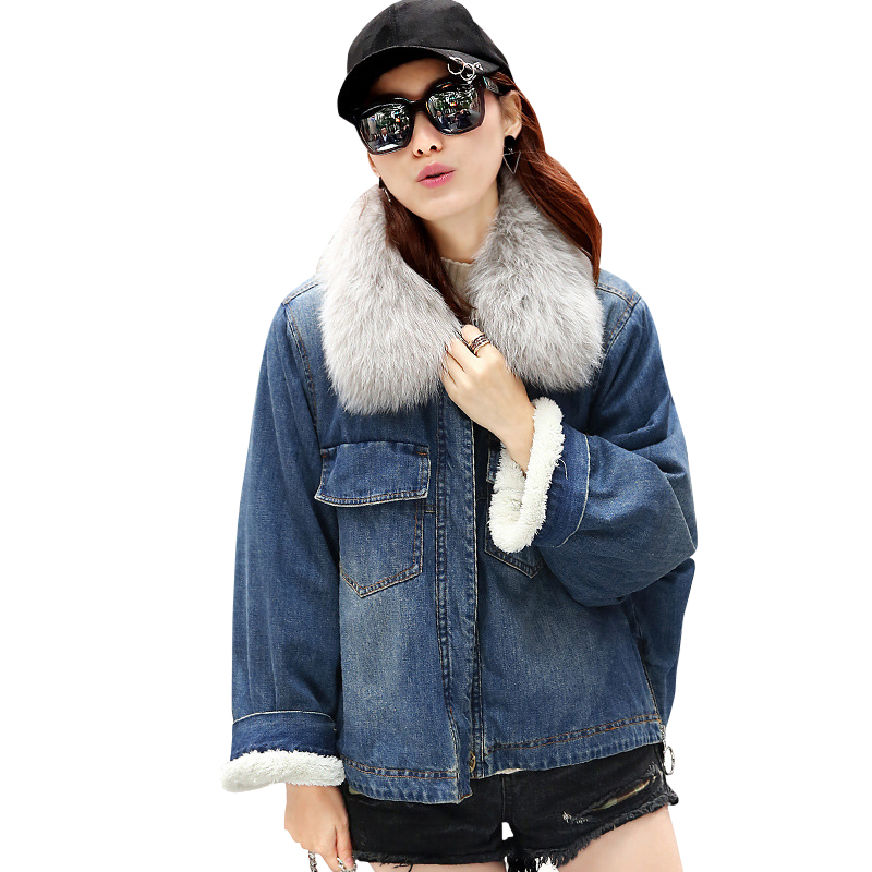 Fashion Winter Jacket Women 2017 Thick Cotton Padded Denim Jacekt Real Fox Fur Lambswool Warm Outerwear Coat Parka MF085 free shipping 2015 cotton padded jacket men s nick coat cotton padded jacket wool liner thick warm cotton denim outerwear