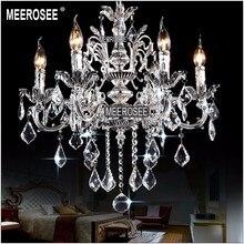 цена Classic 6 Arms Silver Clear Crystal Chandelier Light Fixture Crystal Lustre Hanging Lamp for Foyer Lobby MD8861 L6 D580mm H600mm онлайн в 2017 году