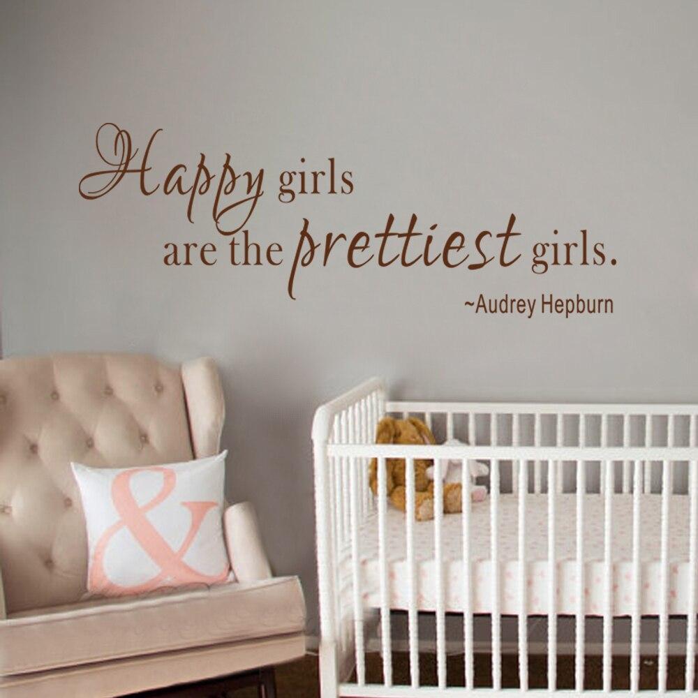 Audrey Hepburn Wall Decal Happy Girls Are The Prettiest Girls Girls