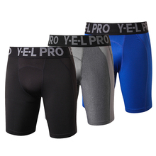 YEL US Local Delivery 3 PCS Gym Leggings Men Compression Crossfit Football Trousers Jogging Bodybuilding Dry Running Shorts