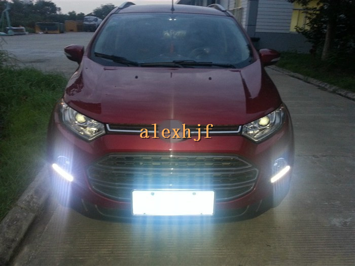 Yeats LED Daytime Running Lights DRL With Fog Lamp Cover Case For Ford EcoSport 2013~ON, LED DRL, 1:1 Replacement, Free Shipping yeats led daytime running lights drl led fog lamp case for subaru forester 2013 16 deluxe edition 1 1 replacement fast shipping