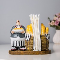 European Vintage Resin Chef figurines Napkin Holder Tissue Paper Christmas Decoration Restaurant Kitchen Decoration Home Decor