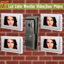 7 pulgadas de monitor de video de la puerta de intercomunicación teléfono timbre del intercomunicador 1 Monitor de la cámara 4 villa de vídeo timbre de la puerta de intercomunicación de vídeo de color vídeo