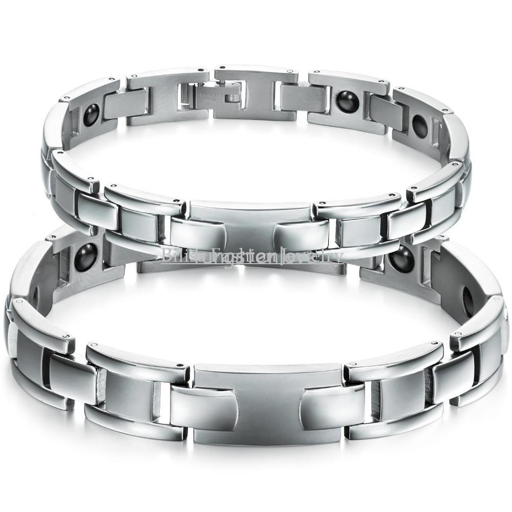 20/22 CM New Mens Womens Golf Titanium Steel Bracelets Healthy Magnetic Stone Bracelet For Couple in Velvet Bag