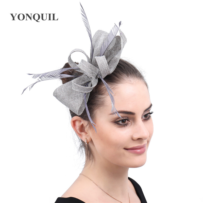Turquoise women fascinator church hats wedding copy sinamay chic bow headpiece ladies Cocktail decor with hair comb 19 colors headpiece