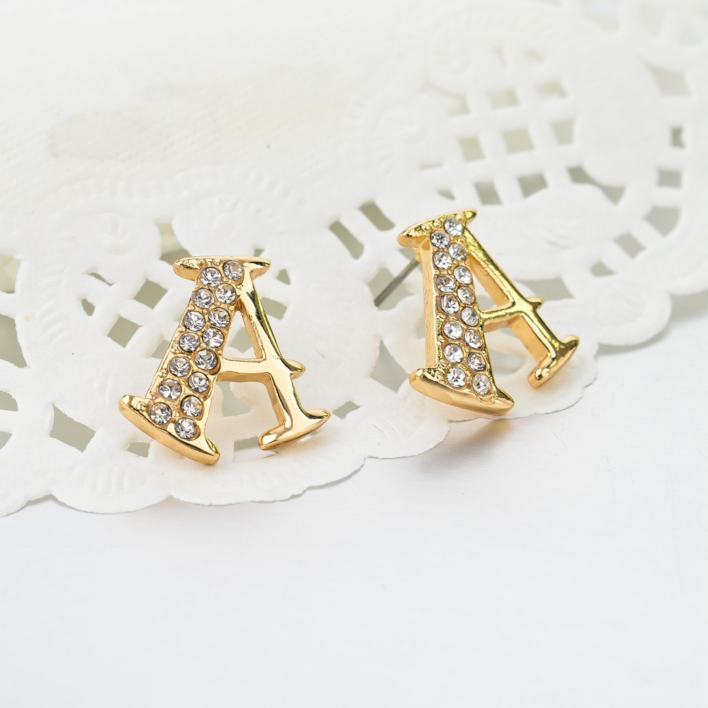 Toucheart Cute A Crystal Stud Earrings For Women S Gold Triangle Small Wedding Fashion Jewelry Vintage Ser150098 In From