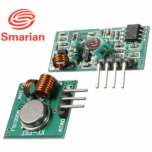 Resmi Smarian Modul Penerima Nirkabel & Pemancar Papan Modul untuk Arduino Super Regenerasi 315/433 MHZ DC5V (ASK/OOK)