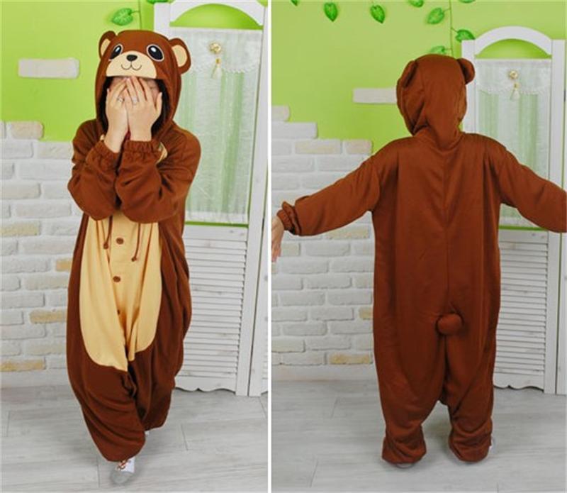 dc8dc021af Brown Bear Onesies Pajamas Adult Kigurumi Cosplay Costumes Unisex Sleepsuit  Animal Sleepwear Party Dress Nightgown Robe clothing-in Anime Costumes from  ...