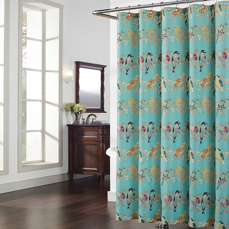 Madison Green Shower Curtain,Aqua Fabric,Mildew Resistant For Bathroom,Birds Bathroom Curtains