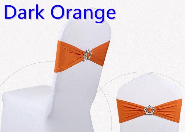 Dark orange colour Crown buckle lycra sash for wedding chairs decoration spandex band stretch bow tie lycra ribbon belt on sale