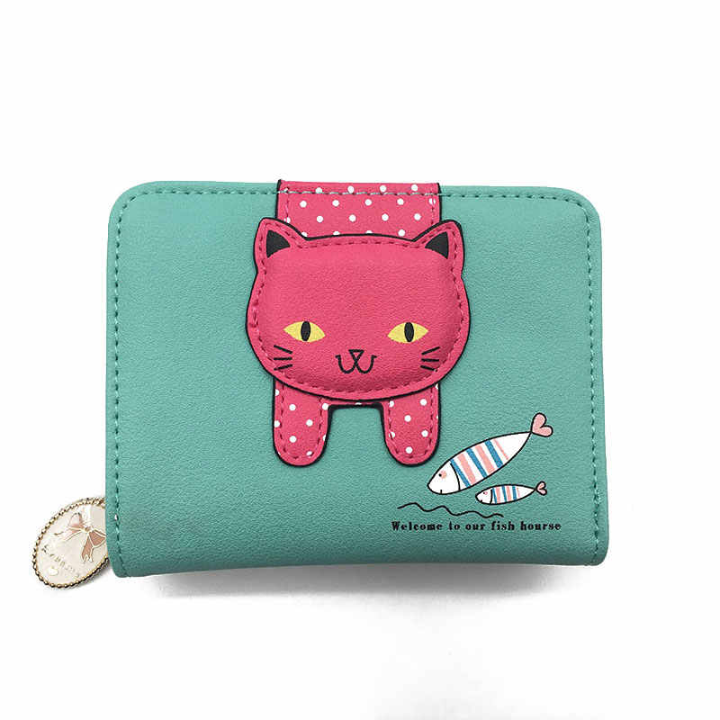 c817a289243 ... Women cute cat wallet small zipper girl wallet brand designed pu  leather women coin purse female
