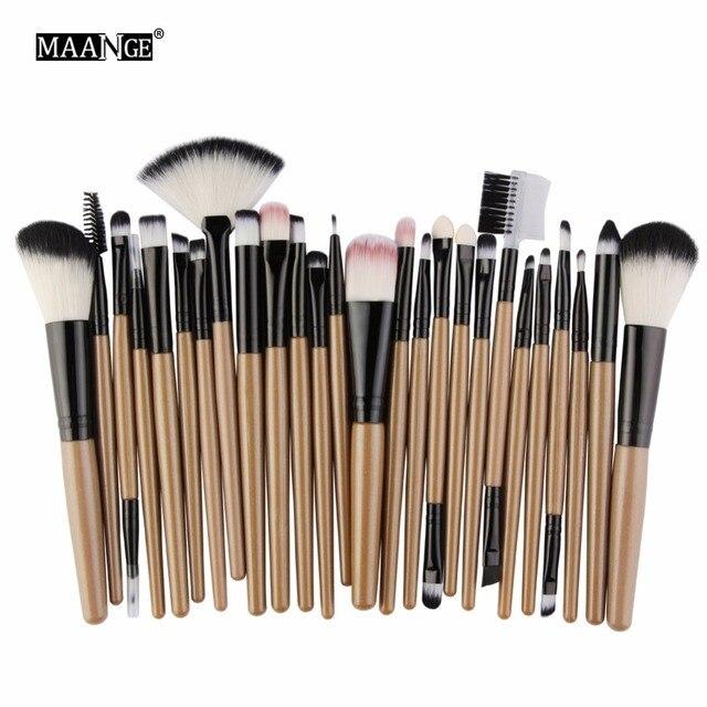MAANGE25pcs Makeup Brushes Beauty Tool Set Foundation Blending Blush EyeShadow Brow Lash Fan Lip Face MakeUp Concealer Brush Kit 5