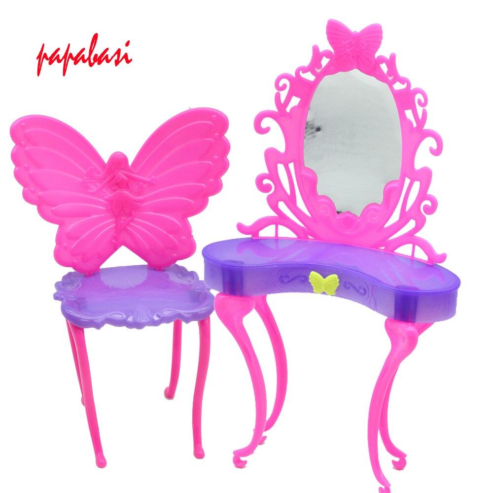 1 set vlinder dressing dresser make tafel stoel slaapkamer meubels voor barbie poppen poppenhuis beste gift voor feestvarken in 1 set vlinder dressing