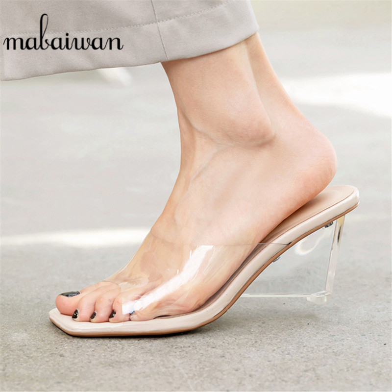 Mabaiwan Summer Casual PVC Jelly Sandals Peep Toe High Heels Wedges Shoes Woman Transparent Heel Beach Sandals Slippers Pumps