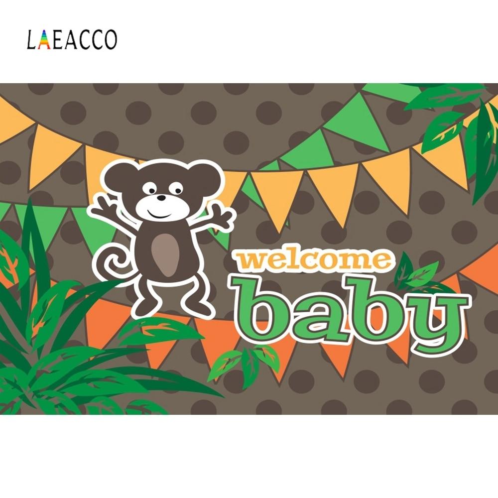 Laeacco Cartoon Animals Monkey Baby Show Portrait Photography Background Customized Photographic Backdrops for Photo Studio