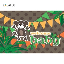Laeacco Cartoon Animals Monkey Baby Show Portrait Photography Background Customized Photographic Backdrops for Photo Studio