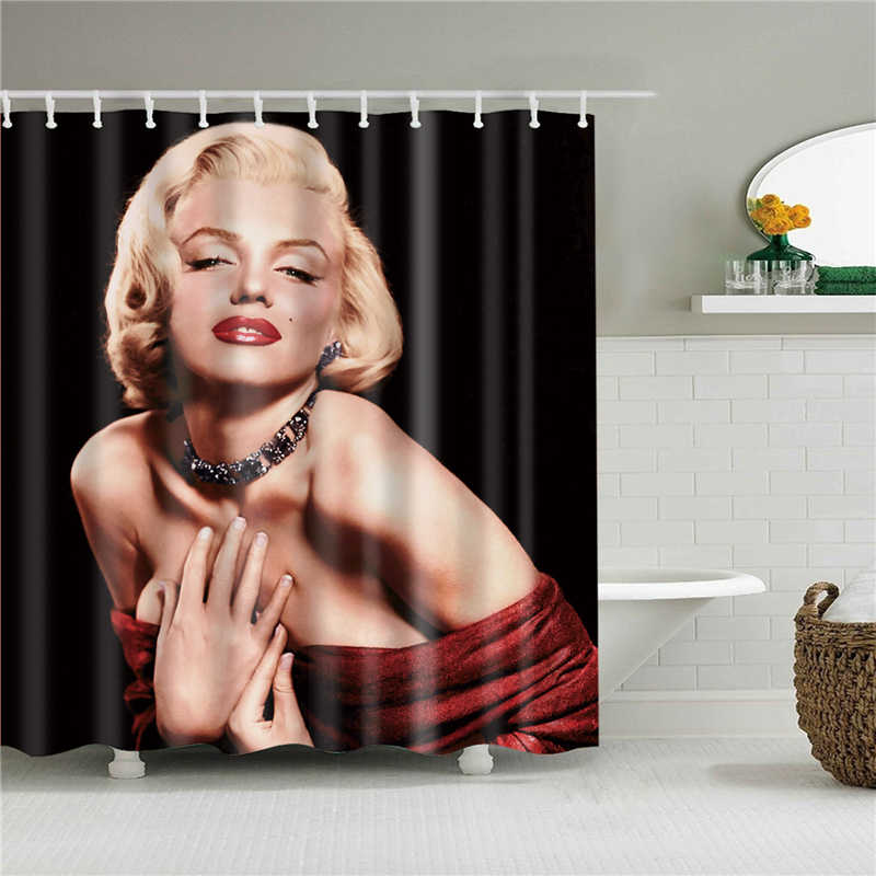sexy marilyn monroe Mildewproof bath screen polyester curtains shower curtain set with hooks in the bathroom home decoration