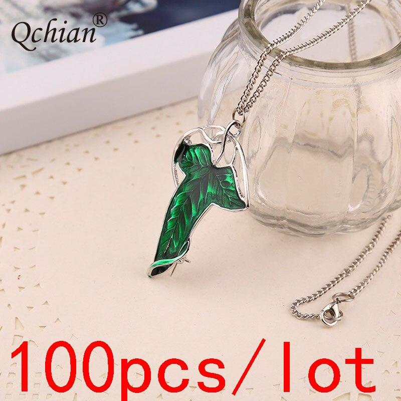 100 sztuk/partia Elf Prince zielony liść naszyjnik Decor wisiorek – biżuteria bardzo piękny prezent dla kobiety w Naszyjnik z wisiorkiem od Biżuteria i akcesoria na  Grupa 1