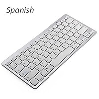 Spanish Language Ultra Slim Wireless Keyboard Bluetooth 3.0 for iPad\/Iphone\/Macbook\/PC Comp Uter\/Android Tablet Free Shipping