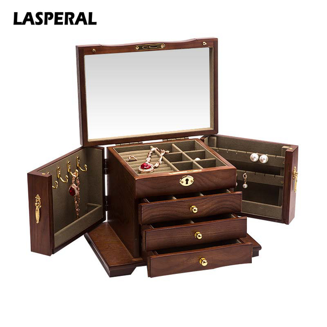 LASPERAL Vintage Multi Drawer Wood Jewelry Box Casket for Decoration