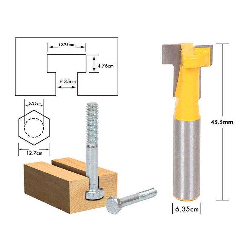 Shank T-slot Cutter Router Bit 1/4'' Steel Handle 3/8'' Length Woodworking Cutters For Power Tools