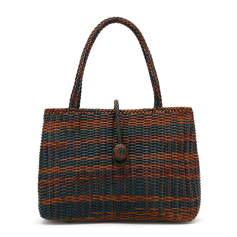 2017 hand rattan weave casual leather bags women genuine leather bag