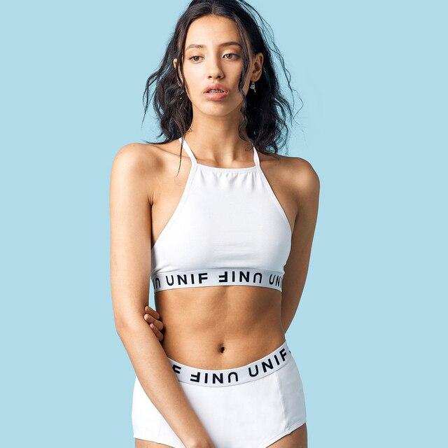 Mulheres UNIF Colheita Halter Cami Top Unif Letras Malha Camis com Tag de Alta Qualidade Tamanho EUA XSSML