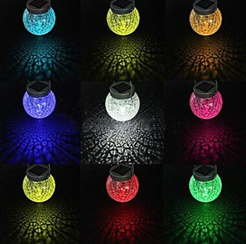 2 LED Color Changing Hanging Cracked Glass Ball Solar Light Outdoor Garden  LED Lamps