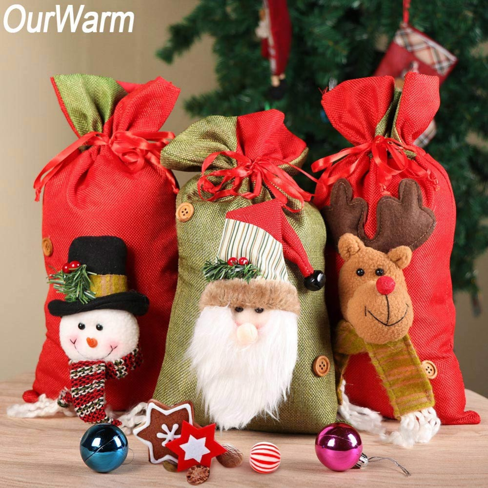 OurWarm 20x38cm Big New Year Christmas Gift Bags 3D ...