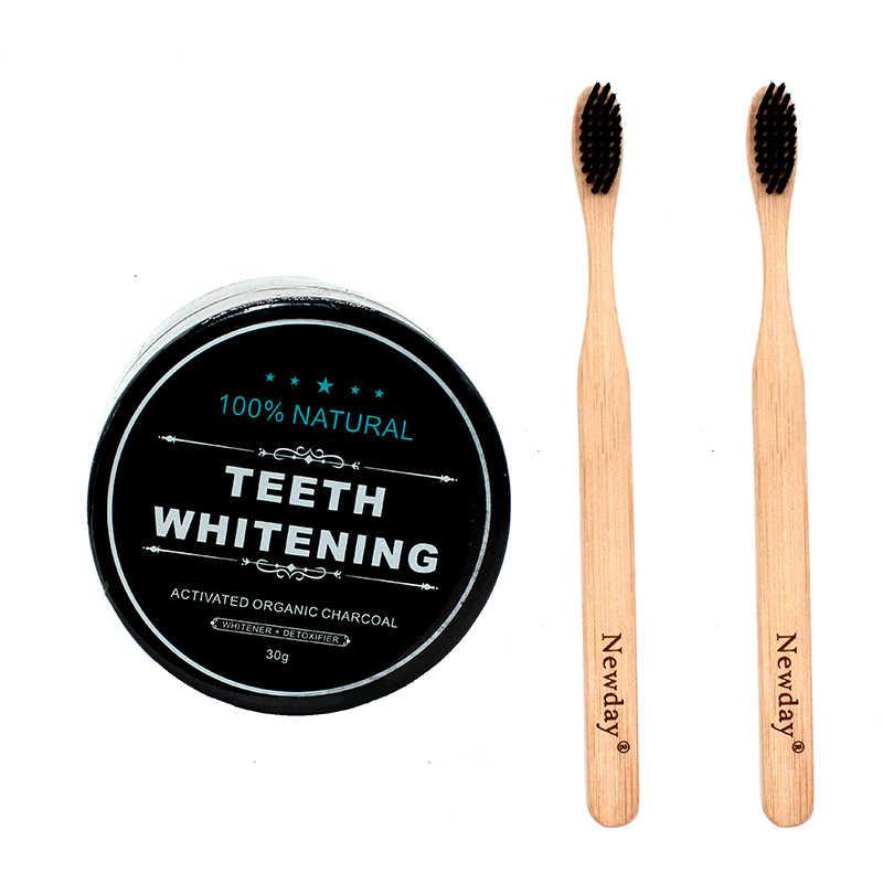 Proszek do wybielania zębów zestaw 2 sztuk szczoteczka bambusowa węgiel do zębów pasta do zębów wybielanie zębów szczoteczka do zębów Oral Hygiene