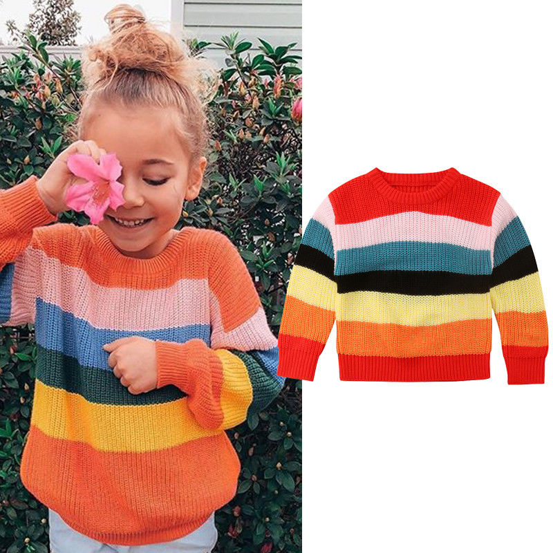 Autumn Winter Sweet Pretty Toddler Baby Girls Sweater Long Sleeve Rainbow  Striped Pullover Knit Sweater Tops Outfit 1 6Y|Sweaters| - AliExpress