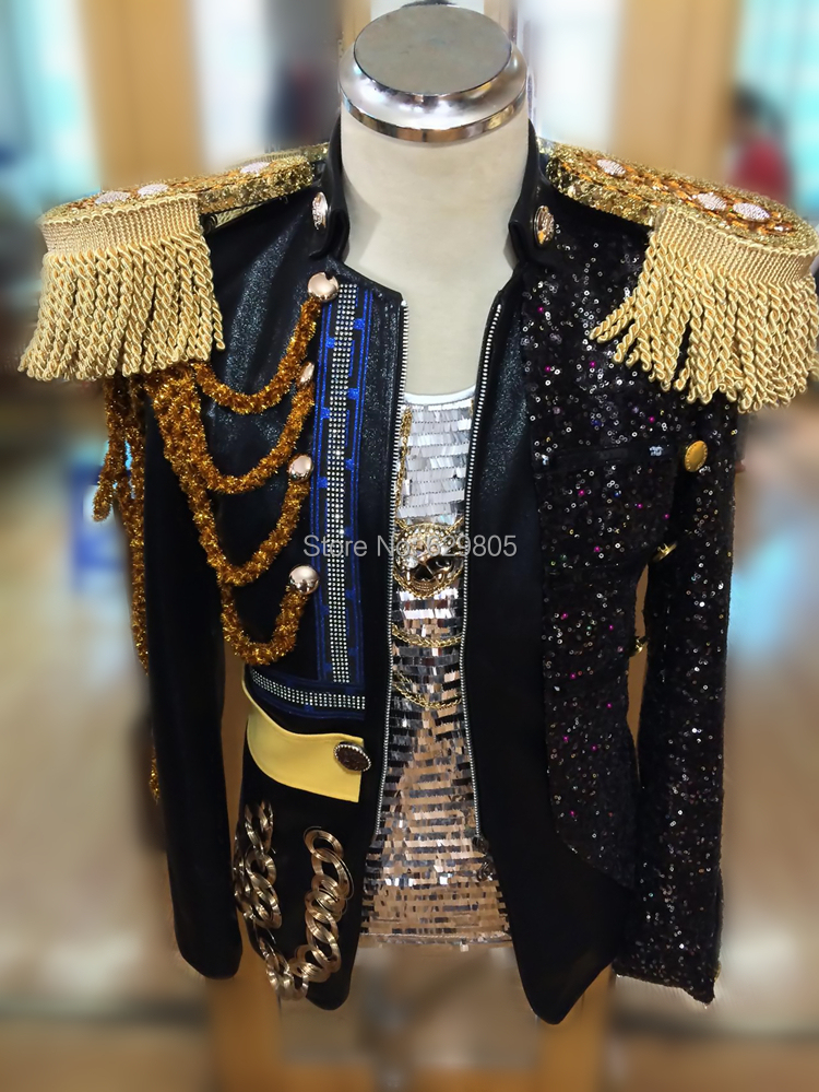 Tassels Epaulet Leather Jacket Male Singer Outerwear DJ Performance Top DS Dance Men Stage Jacket Costume Blazer Men Clothing