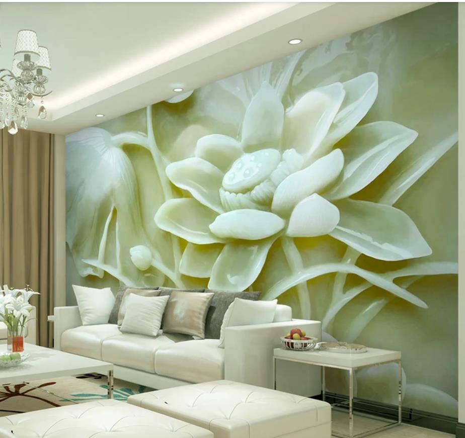 3d jade carving lotus TV background wall 3d murals wallpaper for living room3d jade carving lotus TV background wall 3d murals wallpaper for living room