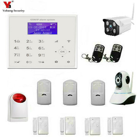 YobangSecurity Wireless Wifi GSM Burglar Security Alarm System Outdoor Indoor Wireless IP Camera Kit for Home Business Apartment yobangsecurity home wifi gsm gprs rfid burglar alarm house business surveillance home security system wireless outdoor ip camera